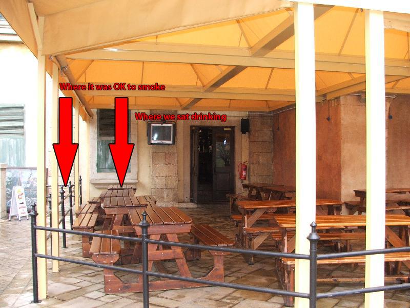 Outside seating at Cobblestone Pub at Monte Casino